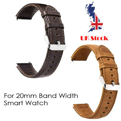 Genuine Leather Replacement Smart Watch Band Strap 20mm