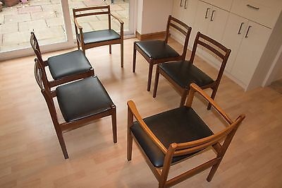 Teak mid century chairs 1960's (6 dining chairs which include 2 carvers)