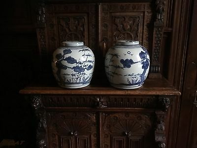 handsome pair of large blue and white chinese jars possibly antique