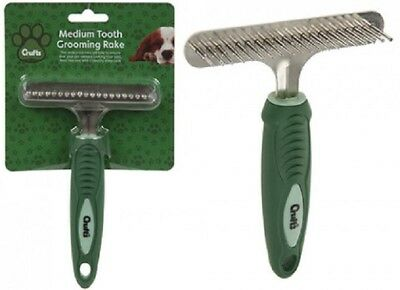 Crufts Dog Grooming Undercoat Rake for thick coats Soft Grip Pet Dog Brush Comb