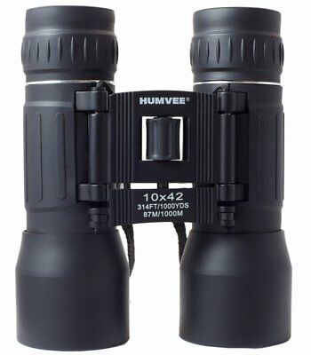 Humvee 10x42 Compact Binocular - Black W Carry Case 314-Feet At 1000-yards!