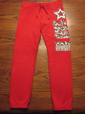 "Justice Girls Red with Leopard Print ""Love Gymnast"" Sweatpants Size 12"
