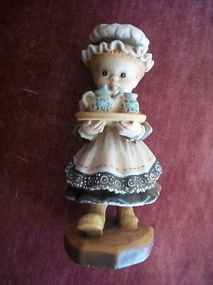 ANRI Girl Serving Tea HAND CARVED IN ITALY WOOD FIGURINE  SARAH KAY VALENTINE
