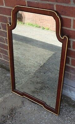 Edwardian antique George I style Cuban mahogany gilt wall hall dressing mirror