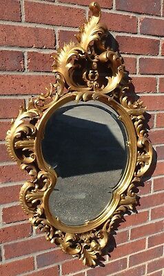 Edwardian antique solid carved mahognay Louis XVI style Rococo rocaille mirror