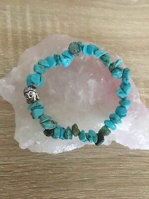 Beautiful Real Genuine Turquoise Gemstone Crystal Bracelet Buddha Reiki Healing