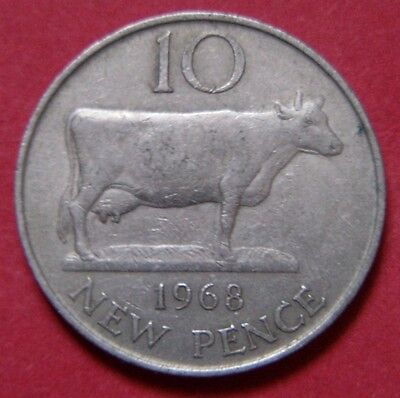 10p COIN 1968 BAILIWICK OF JERSEY OLD LARGE TYPE COIN 10 TEN NEW  PENCE JERSEY