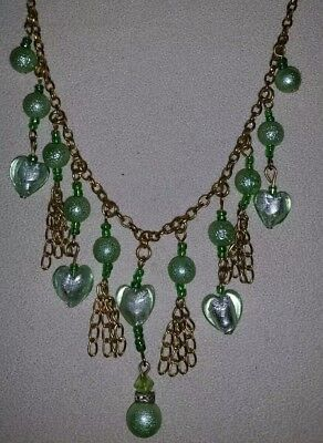 Vintage 1980s gold tone tassel & green GLASS beaded necklace. Costume jewellery