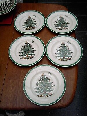 Spode Christmas Tree Desert / Salad Plates X5 in Very Good Condition Free UK P&P