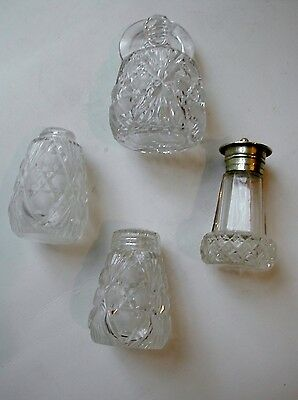 Four cut glass salt/pepper and mustard pots
