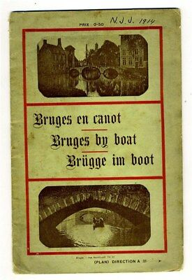 Bruges Belgium by Boat Tour Booklet 1914 French English German