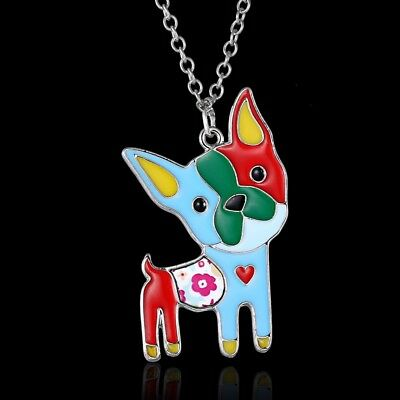 Boston Terrier Dog Pendant Necklace Patchwork Colorful ANIMAL RESCUE DONATION