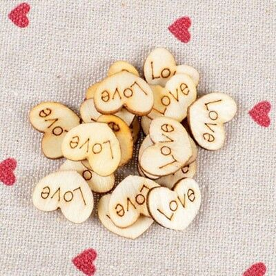 100 pcs Wood Wooden Love Heart Wedding Table Scatter Decoration Crafts.