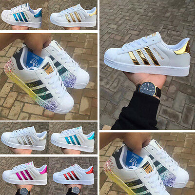 Womens Trainers Superstars Lace-up Striped Sneakers Mens Running Sports Shoes