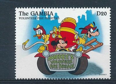 D163706 Disney Cartoons Volunteer Fire Fighters MNH Gambia