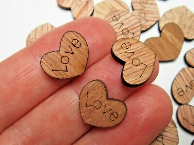 100 Rustic Wooden Love Heart Wedding Table Scatter Decoration Crafts