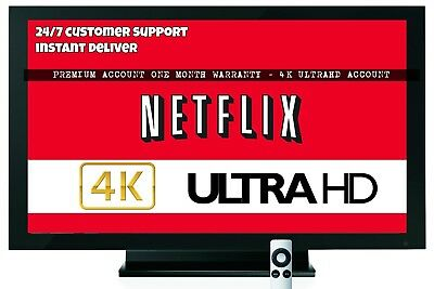 Netflix One Month- 4 Screens - UHD 4K - Warranty -Instant Deliver - Not Shared