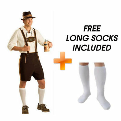 Oktoberfest Lederhosen German Bavarian Beer Festival Mens Costume with Socks
