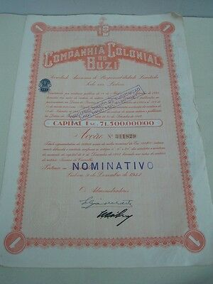 Company Colonial Buzi - one share certified 1942