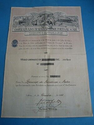 Cooperative Workers of Portugal SCARL - Rare one share - 1945