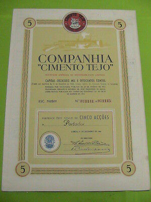 """Company """"Tejo Cement"""" - five share certified 1944"""