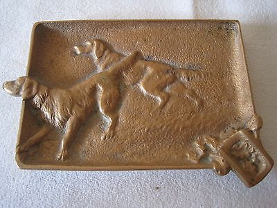 Antique Ashtray In Bronze Rare Pair Of Dogs