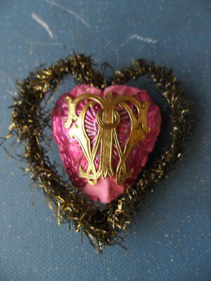 Christmas Ornament Heart German  Dresden Paper With Letter Butterfly  Rare