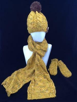 Ladies Yellow Winter Hat  Scarf And Glove Set Code: Whsy02