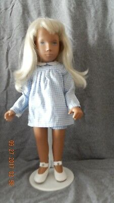 REDUCED - Blonde Sasha doll great condition in blue gingham dress No. 107
