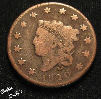 1820 Coronet Head Large Cent <> N-8 R2+ Small Date