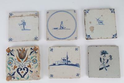 Holland 17/18 Jh Delft 6 Fliesen dutch tile tegel Kachel diverse Motive Fliese