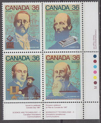 CANADA #1135-1138 36¢ Canada Day Science & Technology LR Plate Block MNH