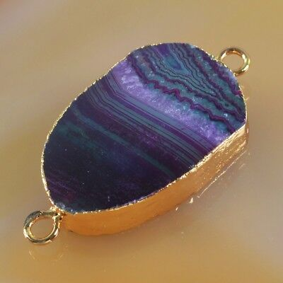 Hot Pink & Green Onyx Agate Druzy Geode Connector Gold Plated T047031