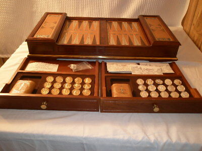 Franklin Mint Backgammon Excalibur Board Game w/ Silver & Gold Plated Tokens COA
