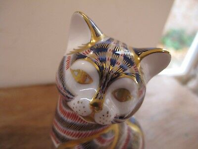 "Royal Crown Derby Imari Sitting Cat -Gold Stopper - 5"" Tall - Mint"