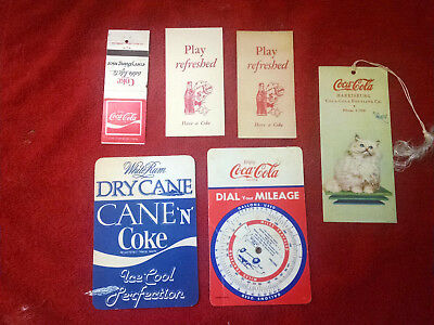 Coca-Cola Mileage Chart-Tally Cards-Cane 'n Coke Coaster-1940-s 1980's-Matchbook