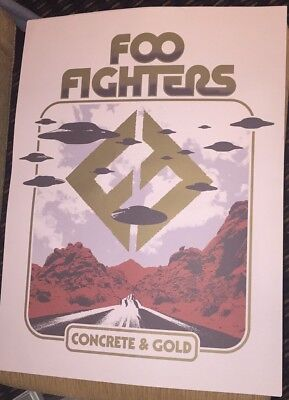 FOO FIGHTERS Concrete & Gold LITHOGRAPH Poster DAVE GROHL NEW 2017