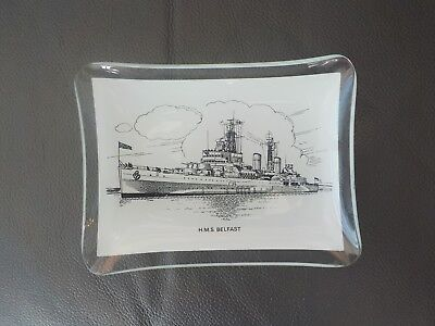 H.m.s. Belfast Ship / Boat Glass Pin Tray / Dish Collectable Militaria Ww11