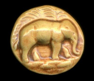 Old Ceramic Button Made From Mold Of Antique Picture Button, Jumbo The Elephant