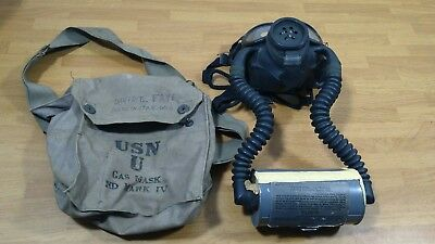 Vintage WW II US Navy USN U Gas Mask ND MARK IV & Canvas Bag & Can with name