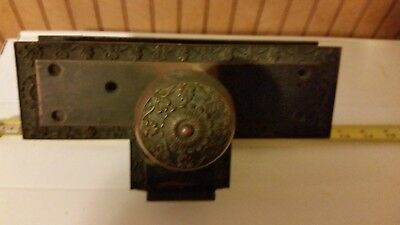 Vintage Victorian Brass Door Knob Plate and Mortise Lock NO key  142216441238