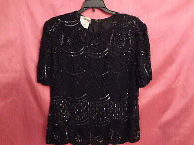 Stenay Women's  Black Floral Beaded Sequined Cocktail Blouse Top Vintage MEDIUM