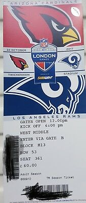 Arizona Cardinals v Los Angeles Rams Tickets x 3 - Twickenham NFL
