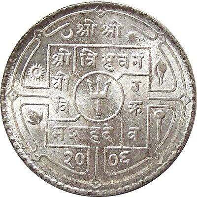 Mint Nepal 1-Rupee Silver Coin 1949 Ad King Tribhuvan Vikram Km-726 Uncirculated