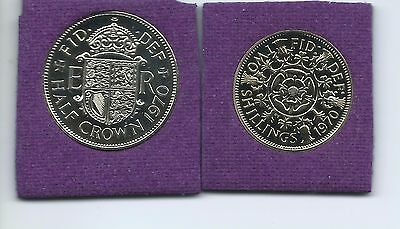 1970 Proof Half Crown and  Two Shillings coins  from a Proof set.