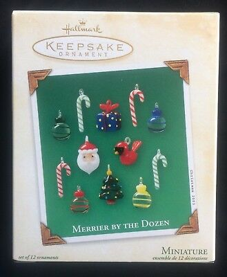 Hallmark Merrier By The Dozen Set of 12 Miniature Glass Ornaments New in Box