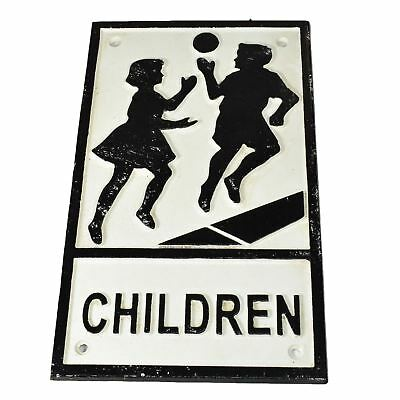 Children Playing Cast Iron Sign Plaque Door Wall House Fence Gate Post
