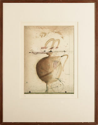 Josef Werner, Reisender Poet, Aquatint Colour Etching, Handsigned, numbered, tit