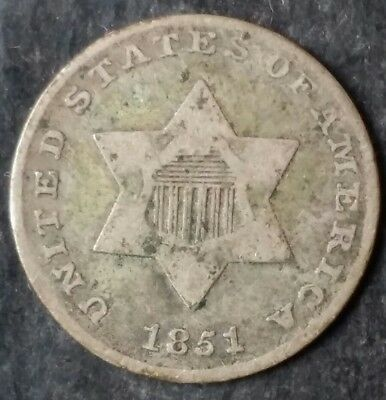 1851 3c Three-Cent Silver Piece (Trime)