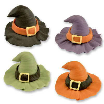 6 3D Halloween Witches Hats Sugar Edible Cupcake Toppers Cake Decorations